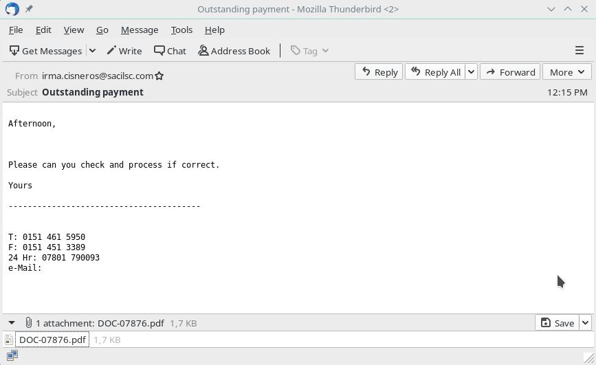 Emotet phishing email