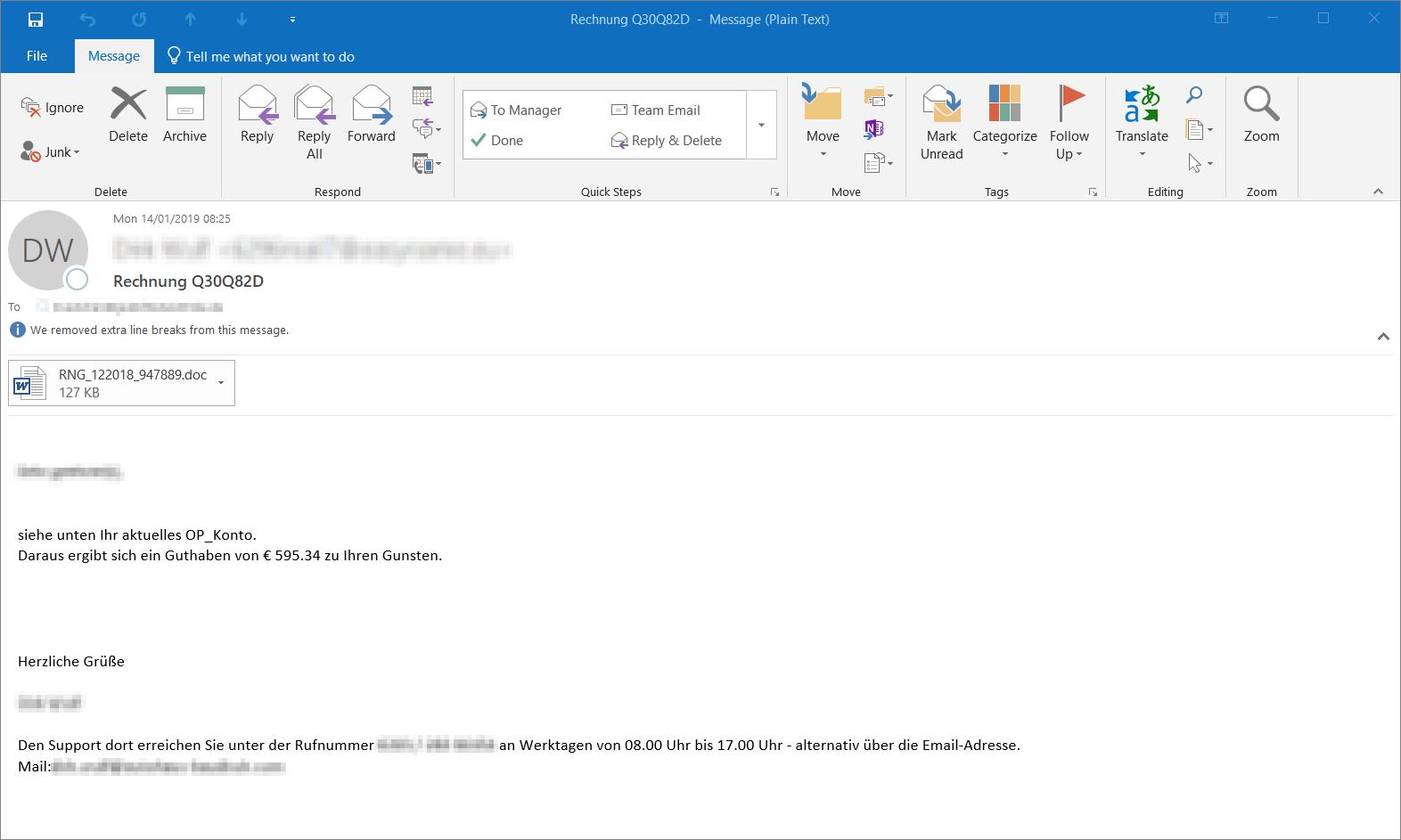 Ryuk Emotet E-Mail