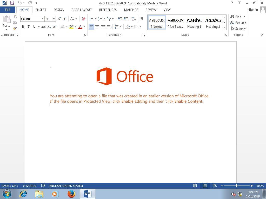 Getarntes Office-Dokument bei Ryuk