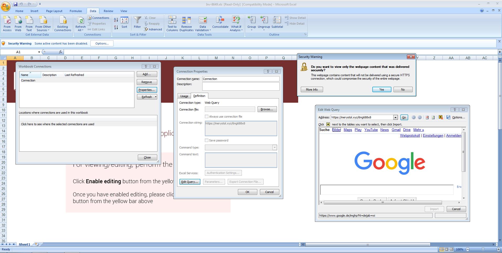Web Query Connection String MalwareScam