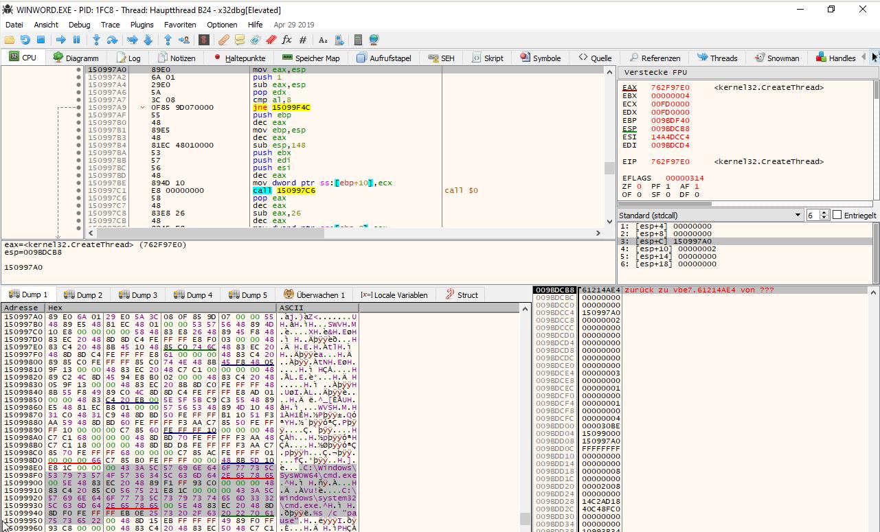 Extraktion von TrickBot-Shellcode über x64dbg.