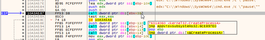 Trickbot shellcode spawning cmd.exe with pause command
