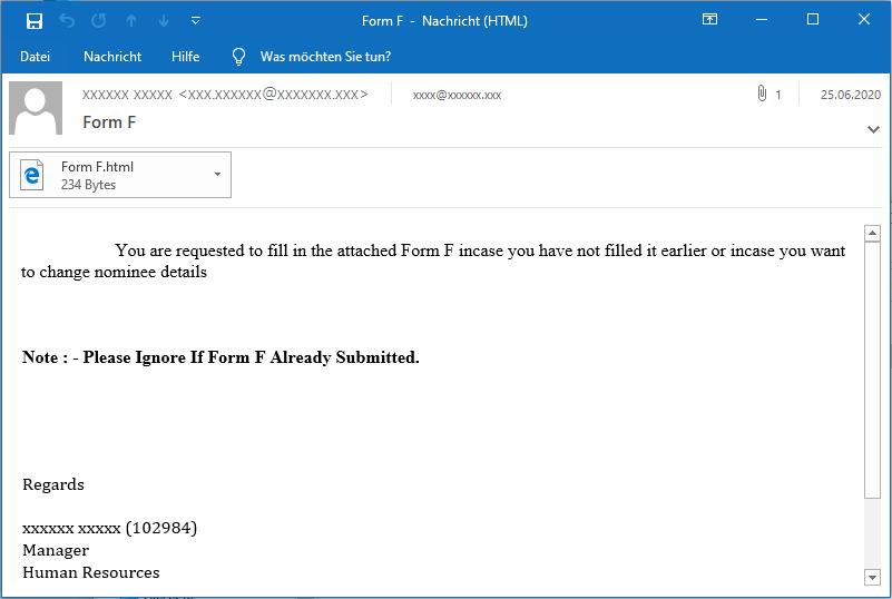 TA505 correo inicial