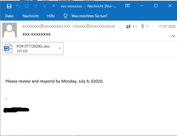 Emotet malspam email