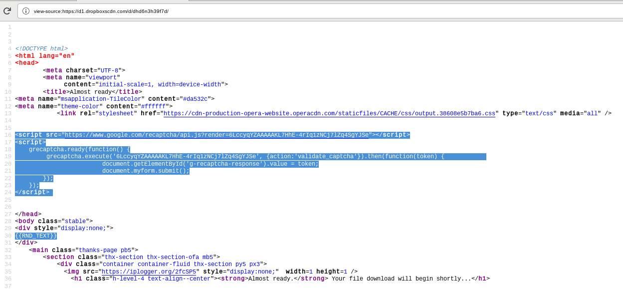 Error en plantilla HTML de TA505
