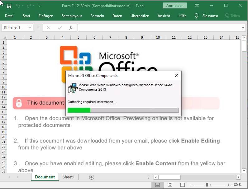 """Ventana falsa de """"Componentes de Microsoft Office"""" en XLS de TA505"""