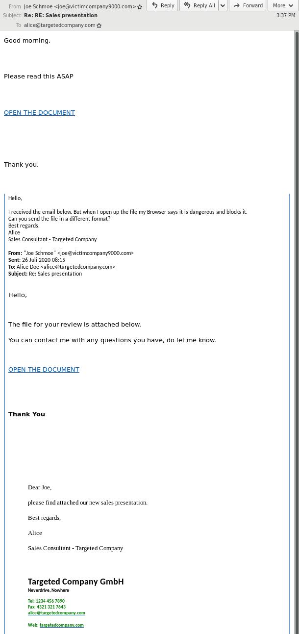 Ejemplo de secuestro de hilos de correo