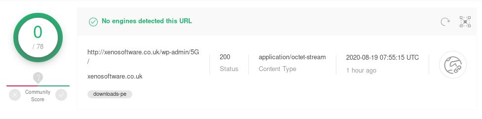 Emotet loader download URL undetected on VirusTotal