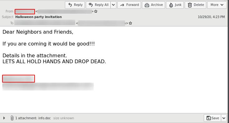 Emotet 2020 Halloween invitation malspam email example
