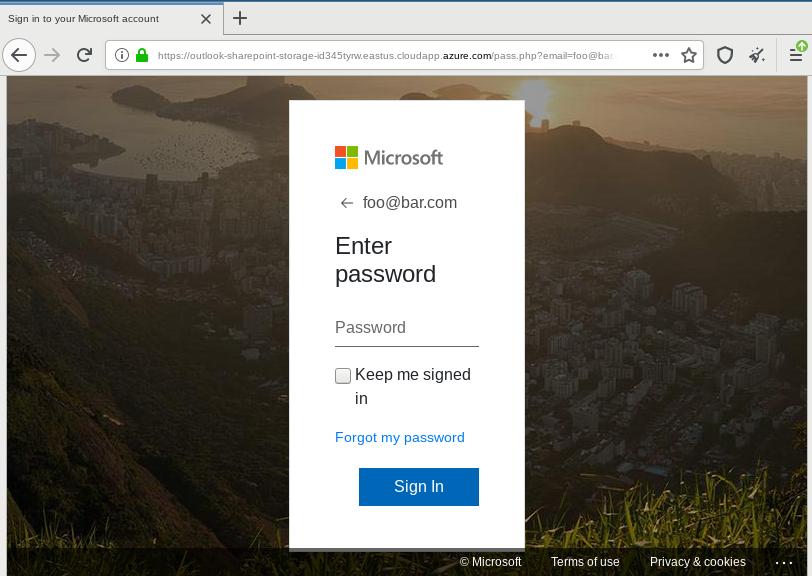 Microsoft phishing kit hosted on Azure platform
