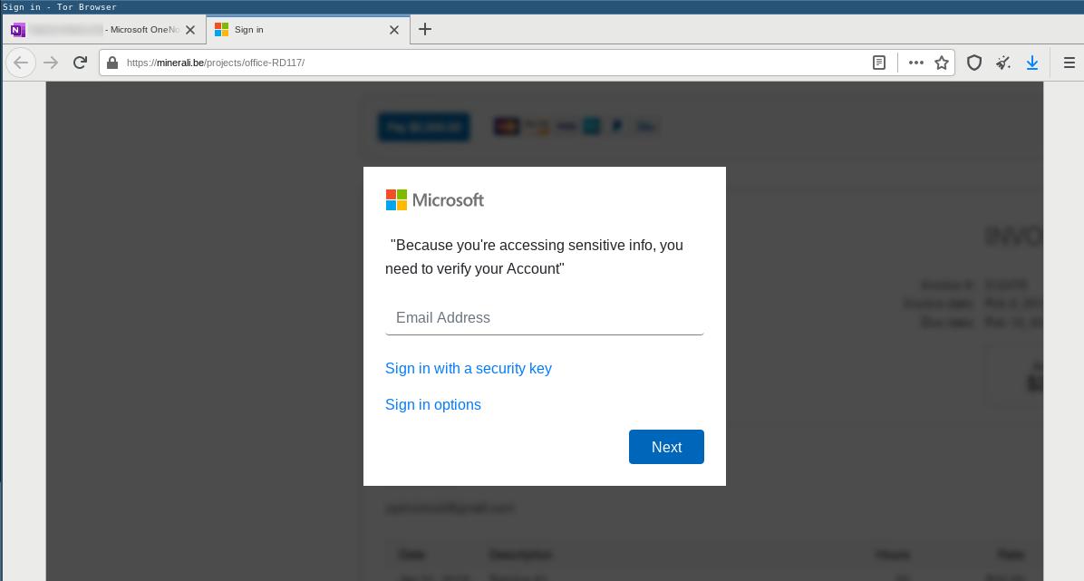 Phishing redirected to fake Microsoft SSO login page