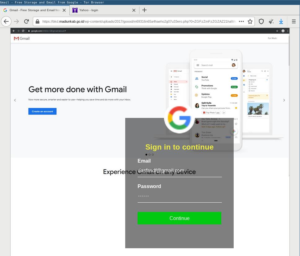 Phishing kit screenshotting website of phished email address' domain name